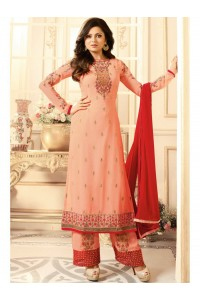Drashti Dhami peach semi stitched embroidered suit 1801