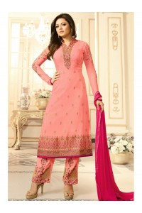 Drashti Dhami peach semi stitched embroidered suit 1805