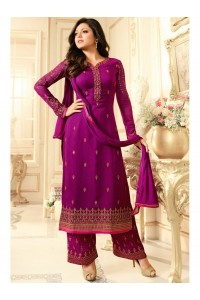 Drashti Dhami purple semi stitched embroidered suit 1804