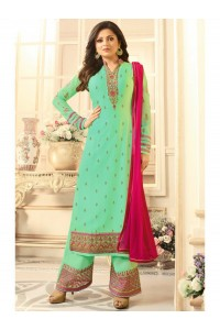 Drashti Dhami turquoise semi stitched embroidered suit 1807