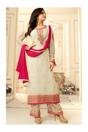 Drashti Dhami white semi stitched embroidered suit 1803