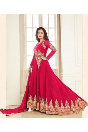 Dia Mirza Pink Georgette Designer Anarkali Suit