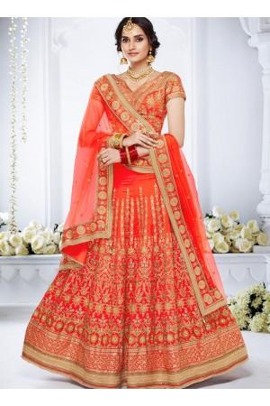 Orange color bhagalpuri silk wedding lehenga