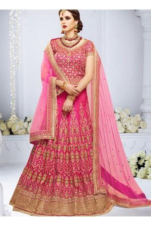 Pink color taffeta silk wedding lehenga choli