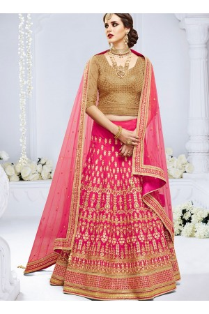 Pink color paris silk wedding lehenga choli