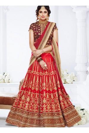 Red color crystal silk wedding lehenga choli