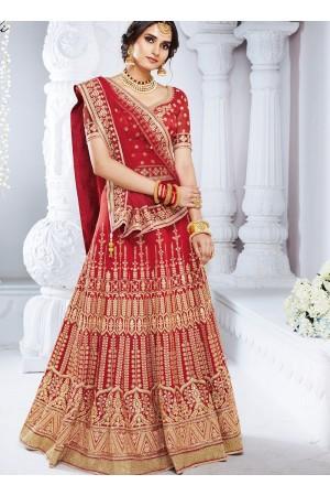Red color bhagulpuri wedding lehenga choli