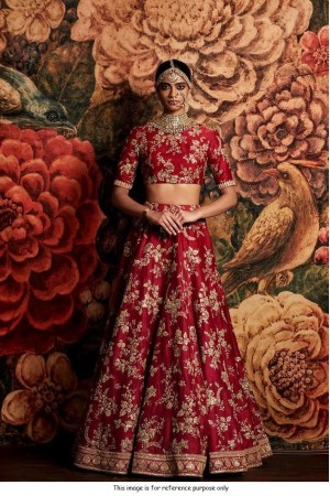 Sabyasachi Inspired Red Banglori silk wedding lehenga