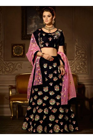 Black embroidered work velvet a line lehenga choli 5006