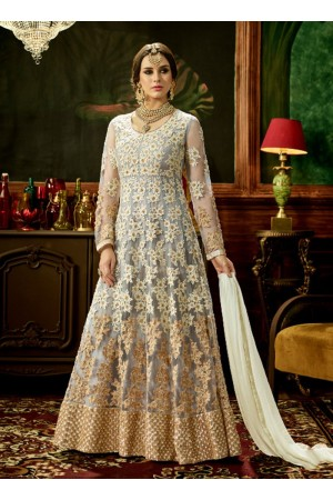 Cream net bridal wear embroidery work anarkali style 3881