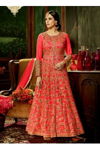 Gajri silk bridal wear embroidery work anarkali style 3882