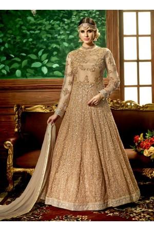 Golden net bridal wear embroidery work anarkali style 3886