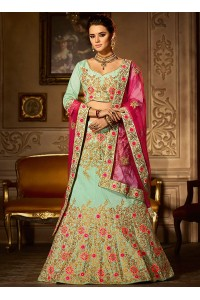 Mint green banglori silk blue and hot pink a line wedding lehenga choli 5002