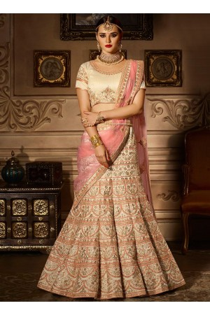 Pink banglori silk embroidered work a line lehenga choli 5008