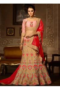 Pink lace work banglori silk a line lehenga choli 5003