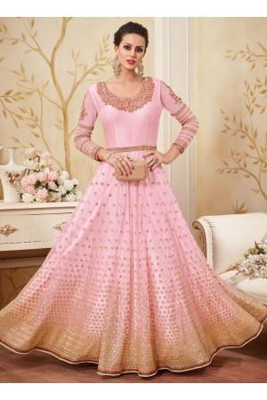 Light pink color net party wear anarkali kameez
