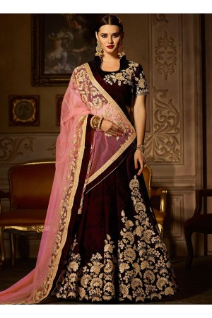Ravishing velvet lace work a line wedding lehenga choli 5001
