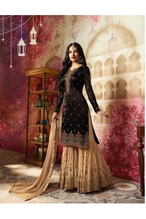 Amyra Dastur Brown Indian sharara style wedding suit 4009