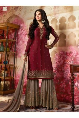 Amyra Dastur Maroon Indian sharara style wedding suit 4012