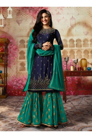 Amyra Dastur Navy blue Indian sharara style wedding suit 4011