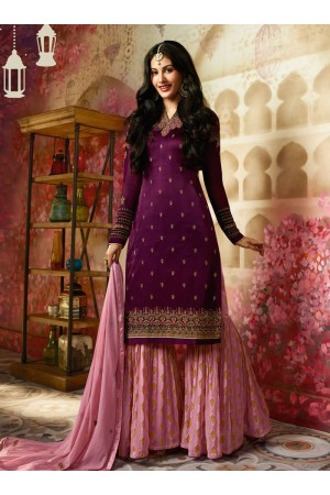 Amyra Dastur Purple Indian sharara style wedding suit 4007