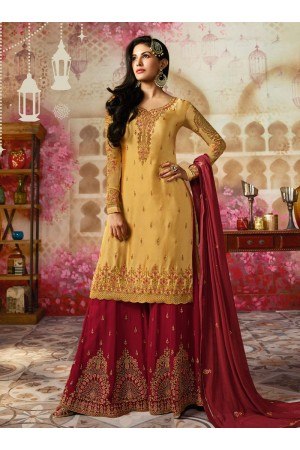 Amyra Dastur Yellow Indian sharara style wedding suit 4008
