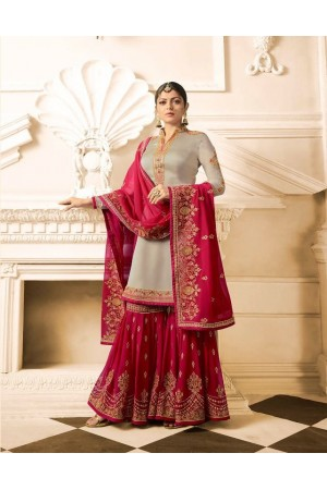 Drashti Dhami Beige Pink wedding sharara suit 2506
