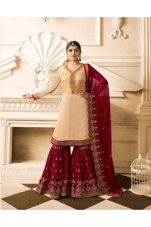 Drashti Dhami Beige maroon wedding sharara suit 2504