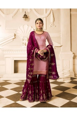 Drashti Dhami Pink purple wedding sharara suit 2502
