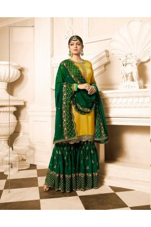 Drashti Dhami Yellow green wedding sharara suit 2503