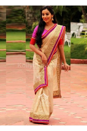 Inspired style off white and pink color silk georgette party wear saree