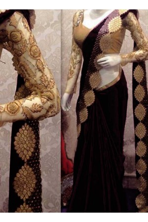 Inspired style Black color satin georgette silk party wear saree