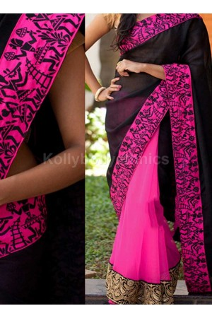 Inspired style Black and magenta color georgette party wear saree