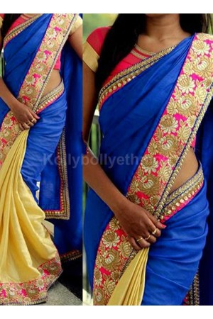 Inspired style Blue and cream color silk georgette party wear saree