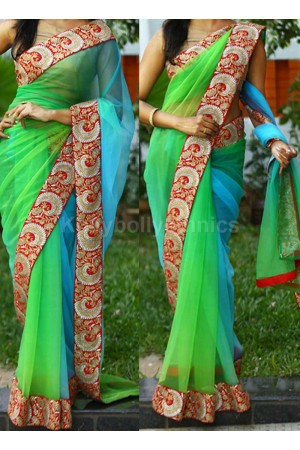 Inspired style Blue and green shaded netted party wear saree
