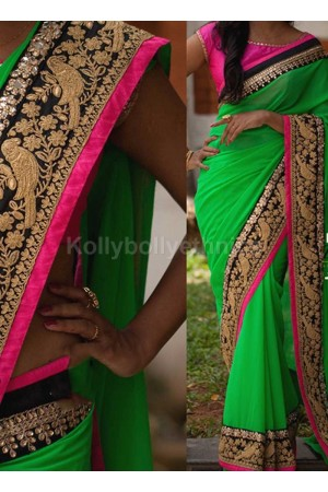 Inspired style Green and pink color georgette party wear saree