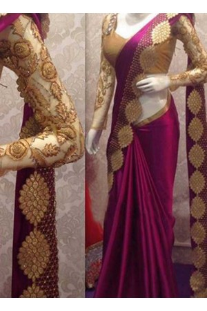 Inspired style Magenta color satin georgette silk party wear saree