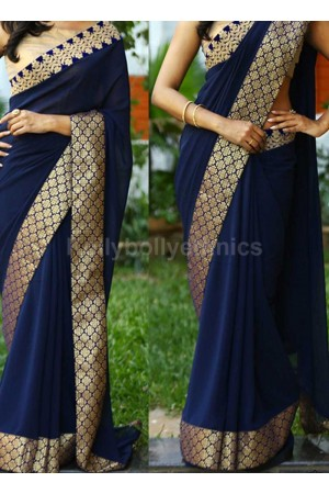 Inspired style Navy blue color georgette party wear saree