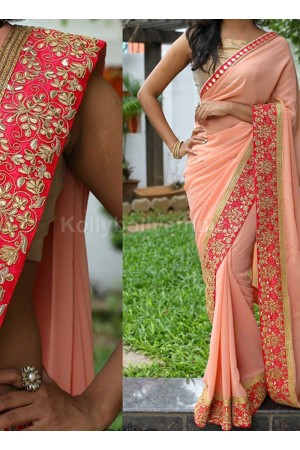 Inspired style Peach color georgette party wear saree