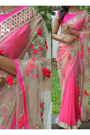 Inspired style Pink and beige color georgette and net party wear saree