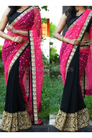 Inspired style Black and pink color georgette and net party wear saree