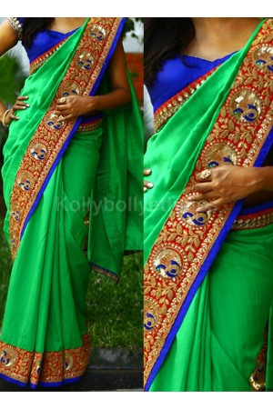 Inspired style Green and blue color nylon georgette party wear saree