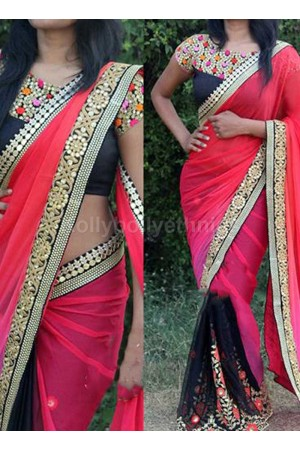 Inspired style Black and pink color georgette party wear saree
