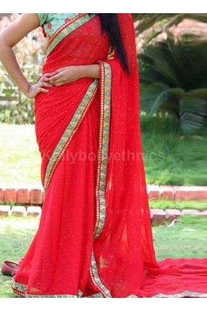 Inspired style Red and turquoise color georgette party wear saree