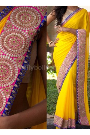 Inspired style yellow and blue color georgette party wear saree