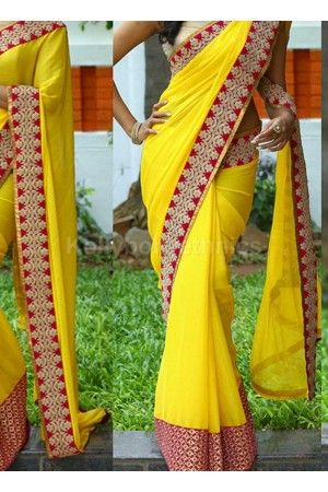 Inspired style Yellow and red color georgette party wear saree
