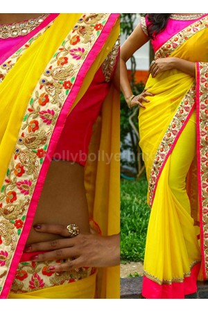 Inspired style yellow and pink georgette party wear saree