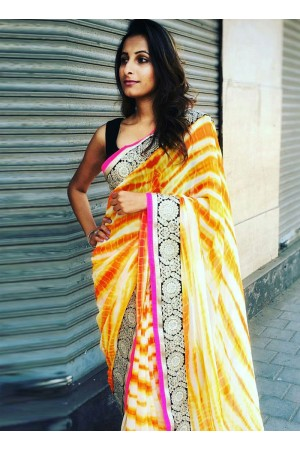 Inspired style yellow and black color sibopi print party wear saree
