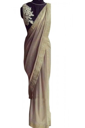 Inspired style Beige and black color cotting georgette party wear saree