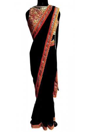 Inspired style Black color georgette party wear saree